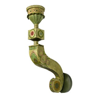 Large Yellow & Green Tin Circus Sconces For Sale