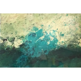 """El Prat"" Abstract Landscape Water Blue, Green Higloss Finish Painting For Sale"