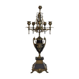 French Empire Neoclassical Brass & Black Marble Mantle Candelabra Candle Holder