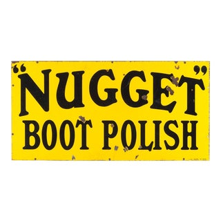 Vintage Nugget Boot Polish Enamel Sign For Sale