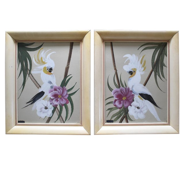 Hand Painted Floral Bird Paintings - A Pair For Sale