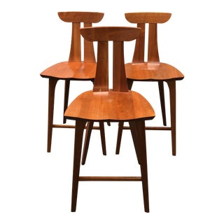 "Mid-Century Modern Copeland Cherrywood Furniture ""Estelle"" Stools - Set of 3"