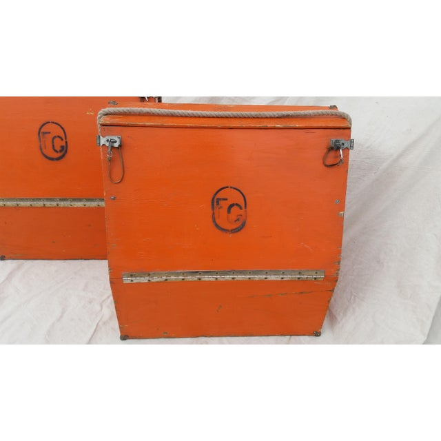 Farmhouse Vintage Western Orange Wood Horse Panniers From a Colorado Ranch - a Pair For Sale - Image 3 of 10