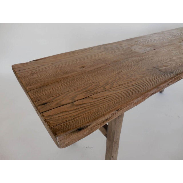 Reclaimed Wood Console with High Stretcher - Image 7 of 8