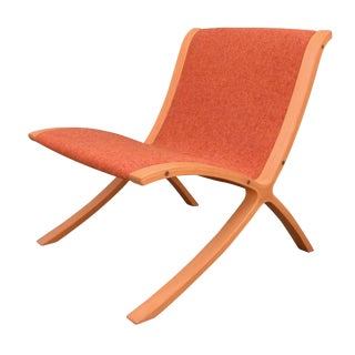 "1970s Mid Century Modern Peter Hvidt Orange ""Ax"" Chair For Sale"