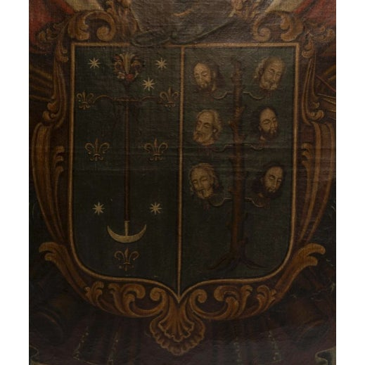 19th Century Antique Coat of Arms Framed Oil Painting For Sale In Nashville - Image 6 of 11