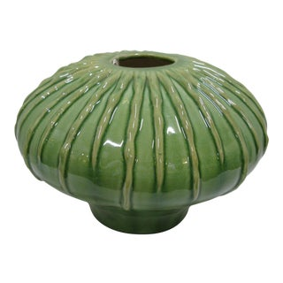 Vintage Asian Large Green Pottery Vase For Sale