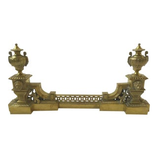 1910 French Brass Fireplace Fender with Lions and Urns For Sale