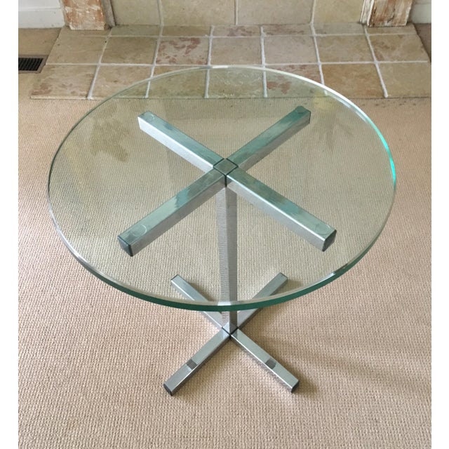 Mid Century Chrome and Glass Coffee / Side Table For Sale - Image 4 of 5