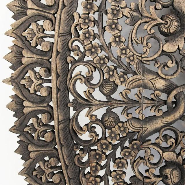 """Asian Antique Burn Carved Medallion Panel 72"""" For Sale - Image 3 of 3"""