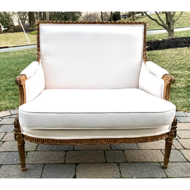 White Gilt Wood Louis XVI Style Loveseat For Sale - Image 8 of 8