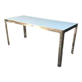 1990s Contemporary Coach Custom Solid Chrome Console Table For Sale