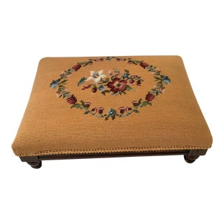 Vintage Mustard Botanical Needlepoint Stool For Sale