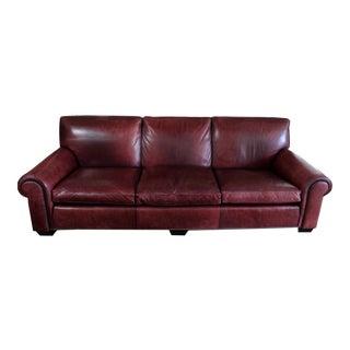 Gorgeous Burgundy Nine Foot Leather Sofa For Sale