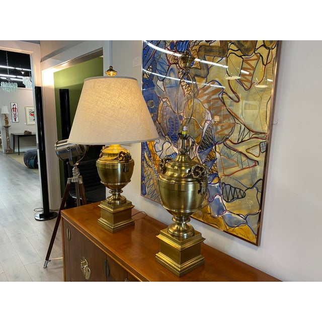 Pair of 1970s Chapman Manufacturing Vintage Brass Lamps For Sale - Image 9 of 13