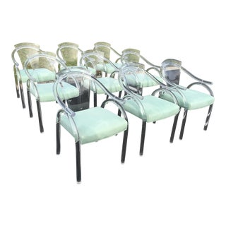 Vintage Ten Lucite Dining Chairs - Set of 10 For Sale