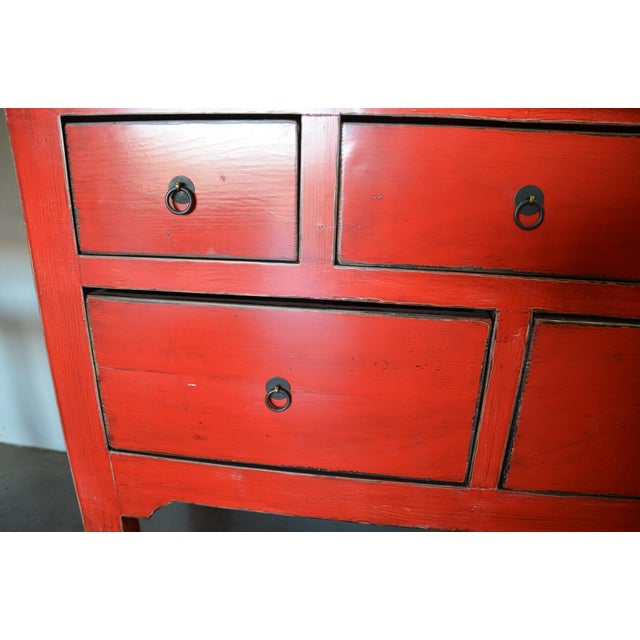 Red Lacquer 5 Drawer Chinese Cabinet For Sale - Image 5 of 9