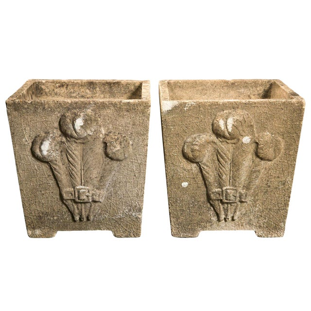1930s Vintage Prince of Wales Plume Planters- a Pair For Sale