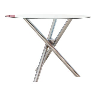 Tubular Chrome and Glass Dining Table For Sale