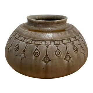 Ceramic Low Vase by Alexandre Bigot For Sale