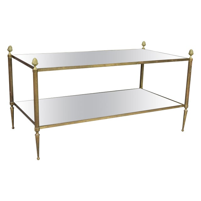 Jansen Style Brass and Mirrored Coffee Table For Sale - Image 9 of 9