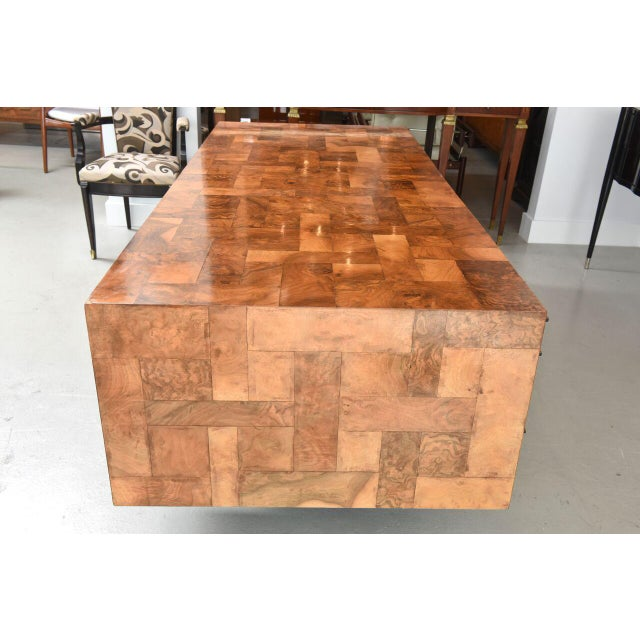 American Modern Burled Walnut and Pewter Cityscape Desk, Paul Evans For Sale In Miami - Image 6 of 9