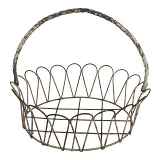 Antique French Wrought Iron Garden Basket or Jardiniere For Sale