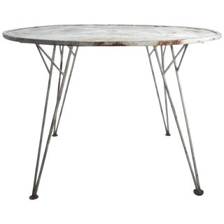 Architectural Metal Mesh Garden Dining Table Attributed to Salterini For Sale