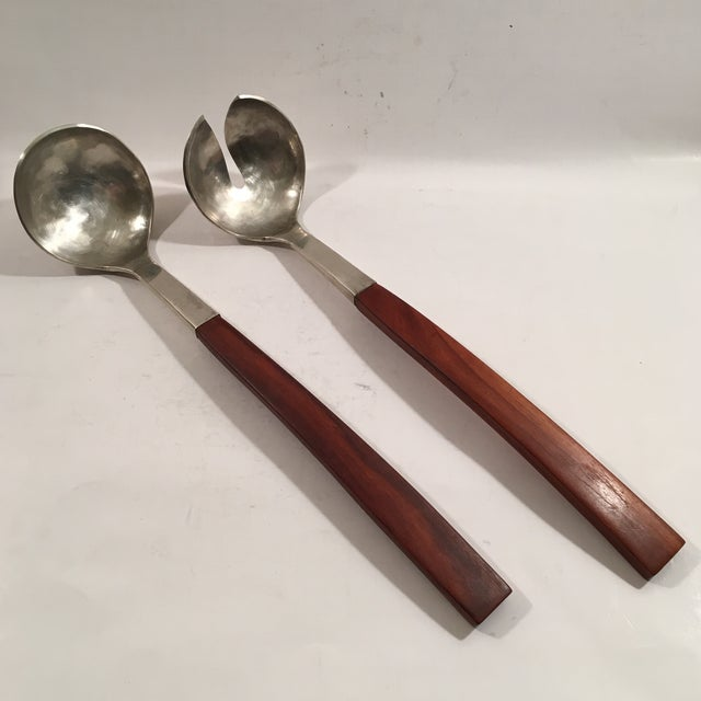 Hammered Sterling and Rosewood Handle Serving Set - Image 2 of 7