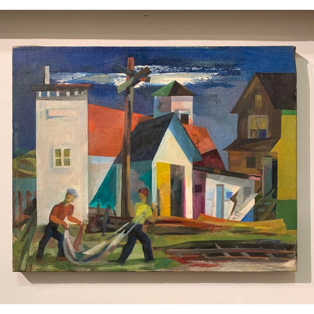 """A cubist style oil on canvas by painter, sculptor and illustrator Howard Mandel (NY, 1917-1999), unframed - 20""""x16"""", not..."""
