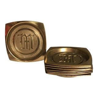 Mid-Century Gothic Brass Coasters - Set of 8 For Sale