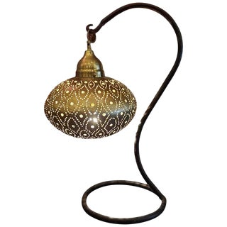 Moroccan Copper Table Lamp For Sale