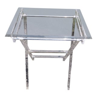 Mid Century Modern Charles Hollis Jones Lucite Folding Table For Sale