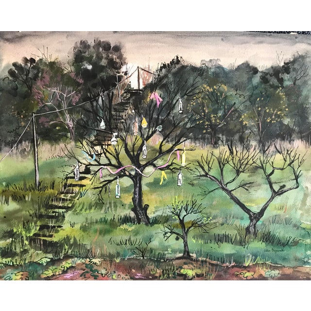 1955 Mid-Century Modern Original Watercolor Painting of Bottle Tree Landscape, by Alice Gizewski For Sale - Image 4 of 4