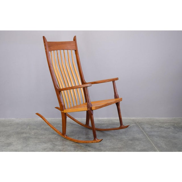 Arts & Crafts Extraordinary Bench-Made Cherry Rocking Chair, Sam Maloof Style For Sale - Image 3 of 10