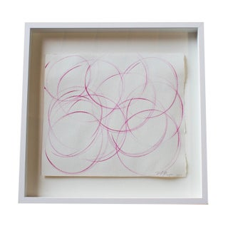 Small Square Framed Pink Abstract Painting For Sale