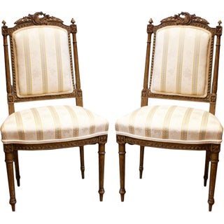 Mid 19th Century French Gilt Antique Chairs - a Pair For Sale