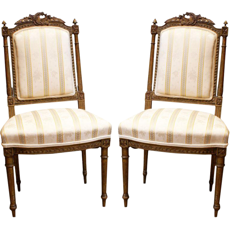 Incroyable Mid 19th Century French Gilt Antique Chairs   A Pair