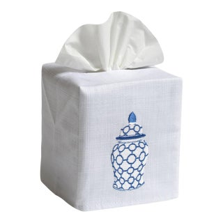 Blue Ginger Jar Chain-Links Tissue Box Cover in White Linen & Cotton, Embroidered For Sale