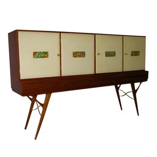1960s Italian Vintage Cream Parchment and Majolica Cabinet / Buffet For Sale