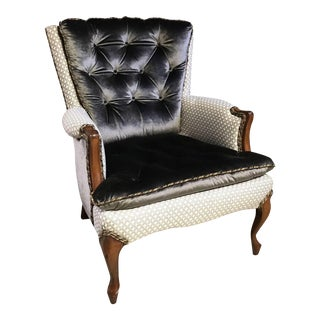 French Style Regina Tufted Bergere Chair For Sale