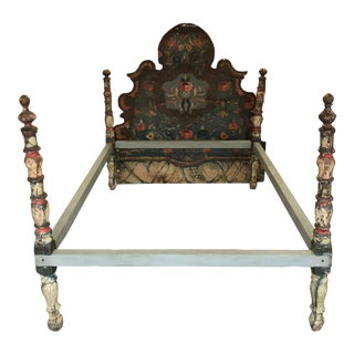 Antique Continental Rosemaling Painted Flowered Bedframe For Sale