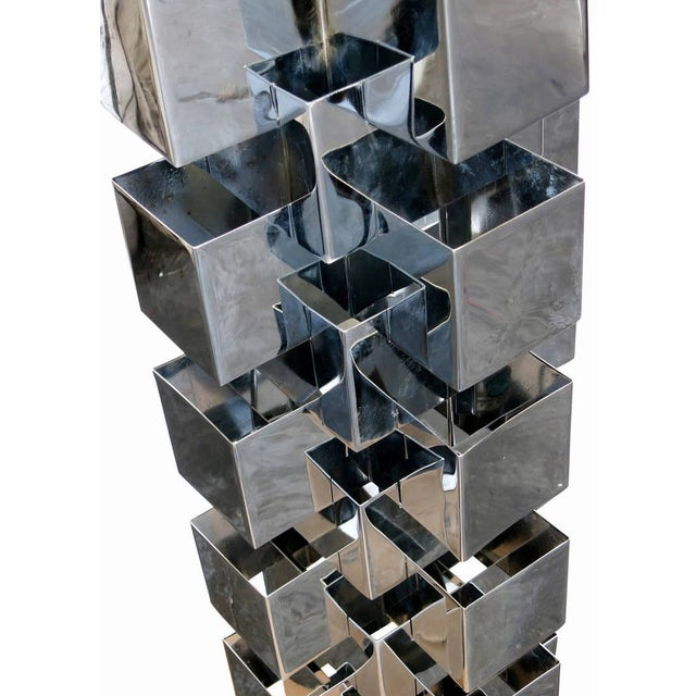 Chrome Interlaced Column Sculpture Table Lamp by Curtis Jere - Image 7 of 8