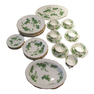 1950s Wedgwood Williamsburg Chinese Tigers Green Bone China Service - Set of 35 For Sale