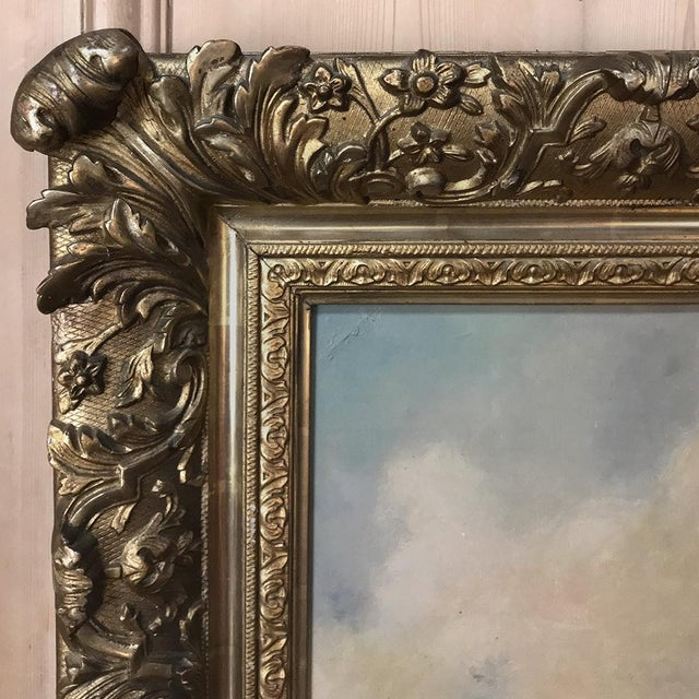 Antique Framed Oil Painting on Canvas by Roelofs For Sale - Image 10 of 13