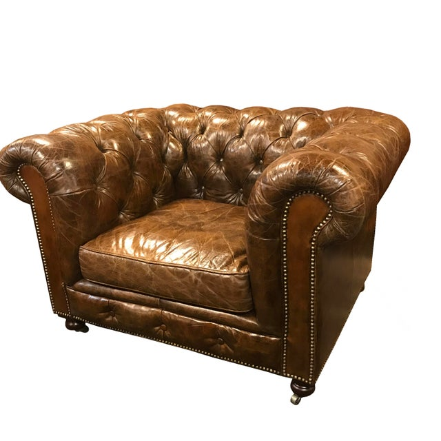 Restored Distressed Vintage Brown Leather Chesterfield Club Armchair - Image 7 of 7