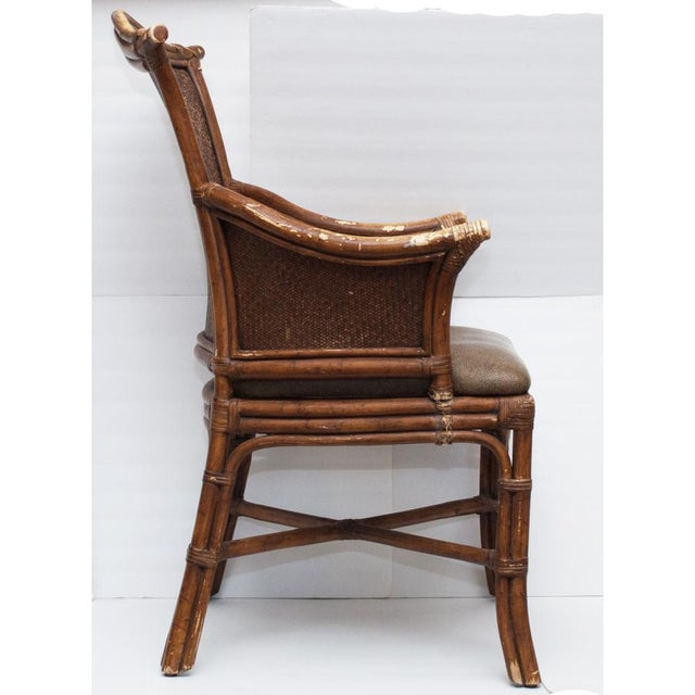 Vintage Chippendale Style Bamboo & Leather Chair - Image 5 of 9