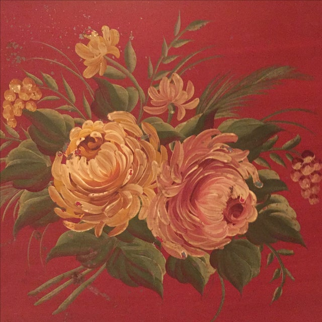 Antique Floral Tole Tray - Image 4 of 7