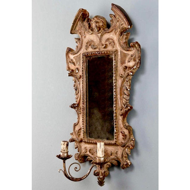 19th Century Italian Sconces With Carved Mirror and Gilt Gesso Frames - A Pair For Sale In Detroit - Image 6 of 7