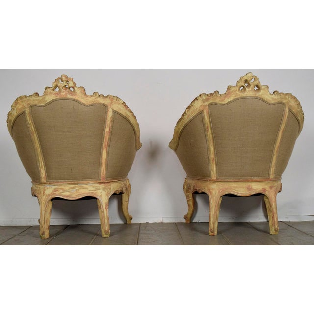 Vintage French Louis XV Style Carved Bergeres - a Pair - Image 4 of 11